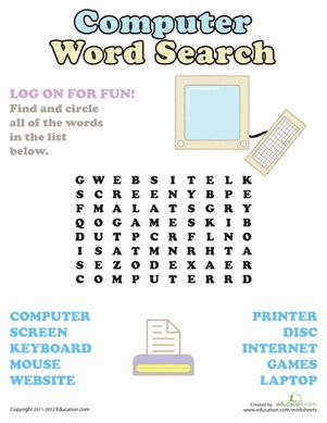 First Grade Word Search Vocabulary Worksheets: Computer Word Search