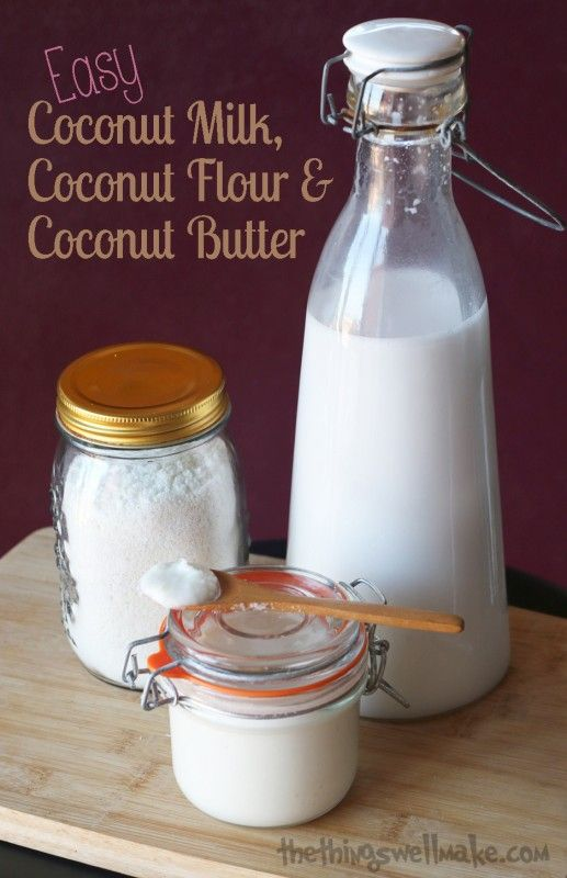 Making your own coconut milk, coconut butter, and coconut flour is very easy. It is worthwhile because it is usually cheaper, and you control the ingredients.