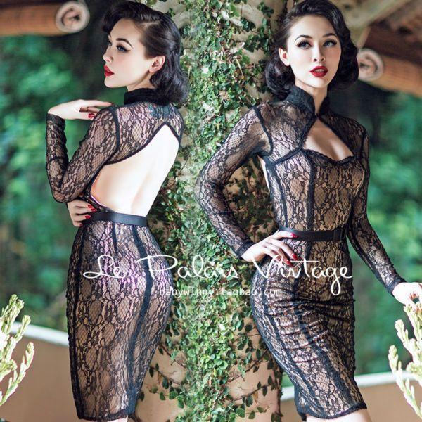 Style: Vintage Silhouette: Sheath Pattern Type: Geometric Sleeve Length: Full Sleeve Style: Regular Waistline: Empire Neckline: Mandarin Collar Dresses Length: Knee-Length Material: Spandex,Lace Decor