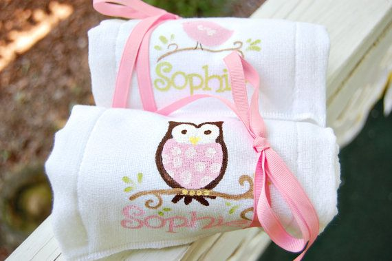 personalized cloth diapers for burpcloths owl and by rebekahcrisco, $15.00