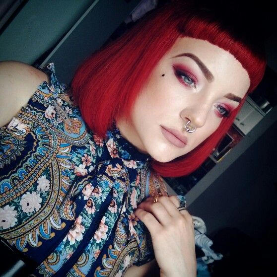 Dark red makeup and red bob hairstyle with short bangs. Koki9