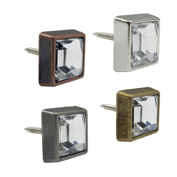 Pretty Decorative Nails! Square Crystal Upholstery Tacks 1/2 Leather By  Springfieldleather