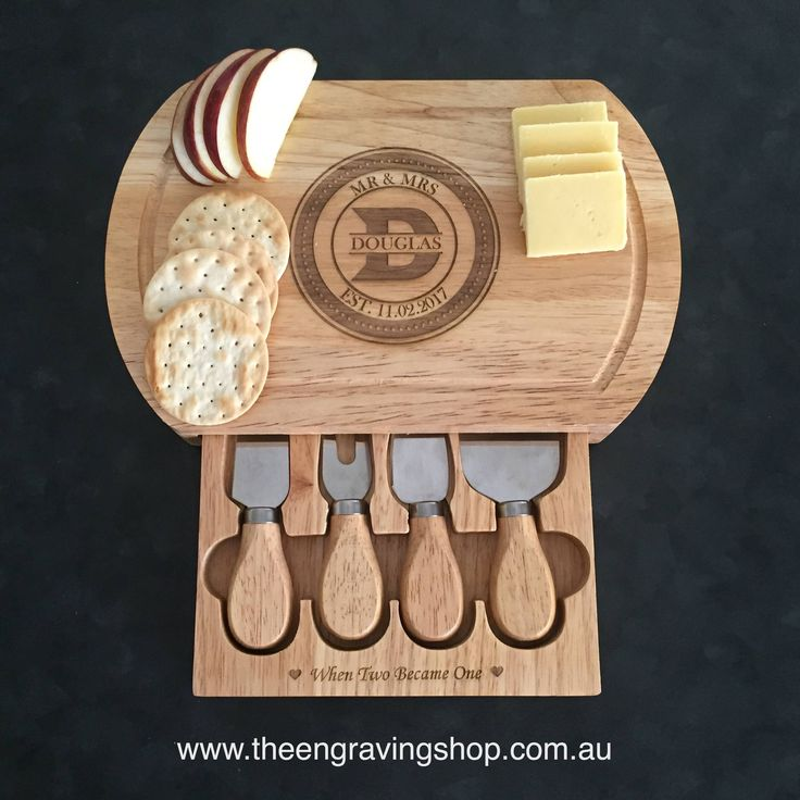 Personalised Engagement Wooden Cheese Board with Knives