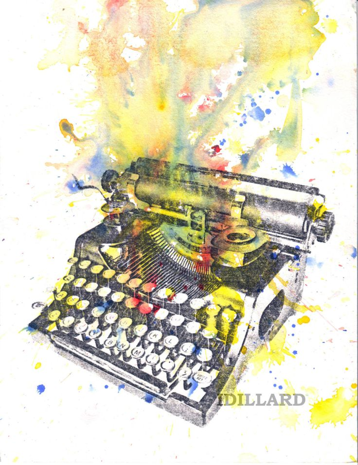 Typewriter Art Print From Original Watercolor Painting by idillard, $18.00