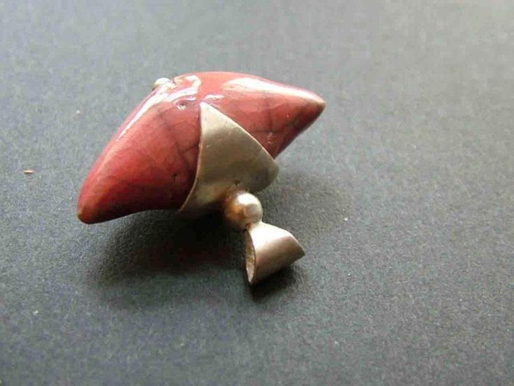 raku ceramic pendant sterling silver socket