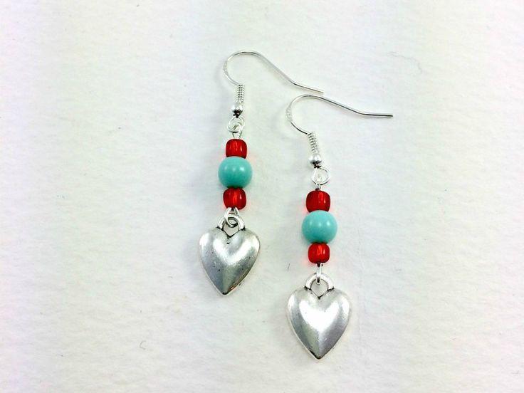 Rockabilly Kitsch Silver Heart Beaded Earrings 1950s Retro by KitschBride on Etsy