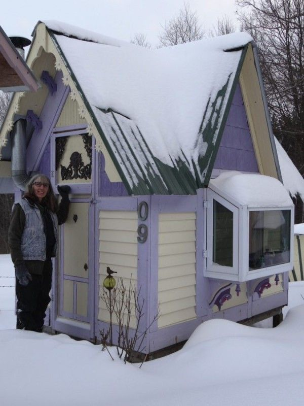 Woman Creates Her Own Village of Micro Houses ~ this purple one is adorable. | Tiny Homes
