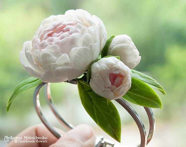 Bracelet Peonies - Plymer Clay Flowers by CraftFlowers on DeviantArt