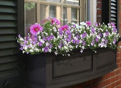 "New Mayne Nantucket 36"" Window Box Outdoor Flower Planter - Black 3'"