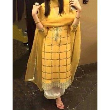 Satin Crepe Lace Work Yellow Semi Stitched Straight Suit - AI24