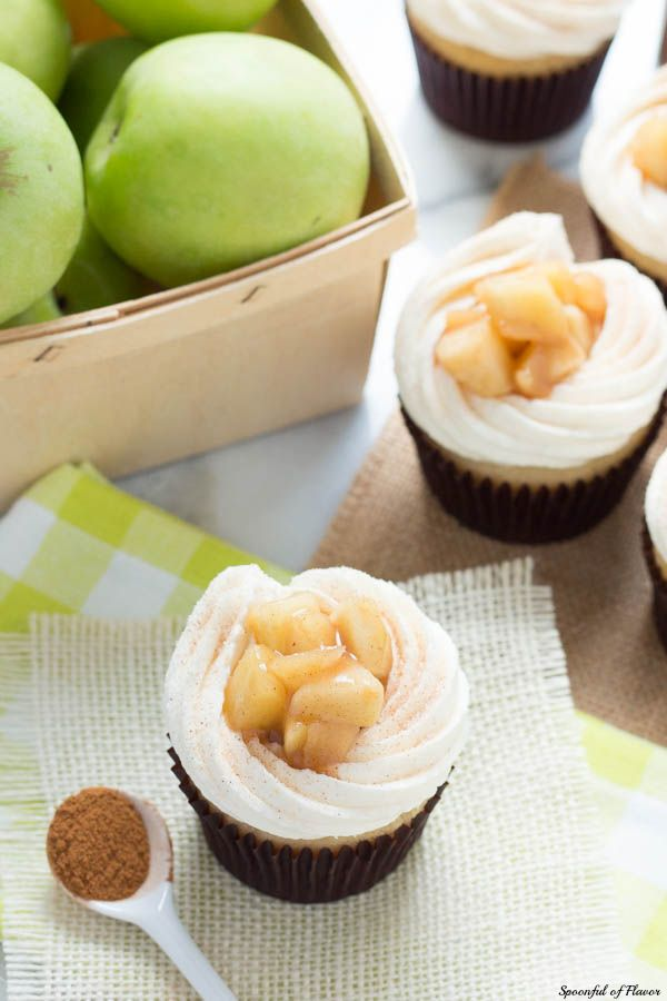 Apple Pie Cupcakes with Vanilla Buttercream Frosting -creamy, sweet and surprisingly easy! Homemade cupcakes don't get much better than these!
