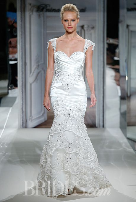 Pnina tornai for kleinfeld 2014 satin wedding and sleeve for Kleinfeld wedding dresses with sleeves