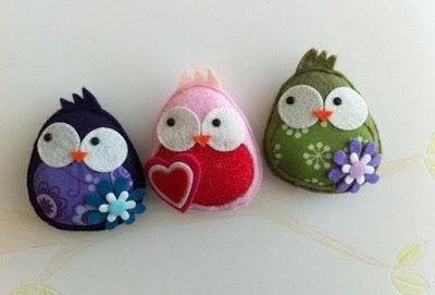 Забавные птички из фетра :)
