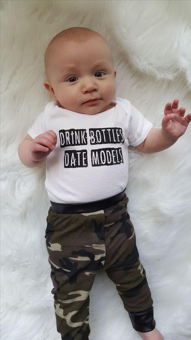 Drink Bottles Date Models Funny baby onesie.