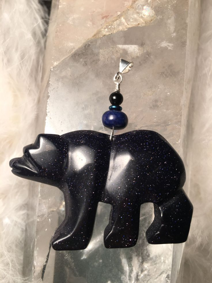 Bear Spirit Animal Medicine Totem ~ Bluestone, Lapis, Hematite and Black Obsidian with Sterling Silver by ArchangelOracle on Etsy