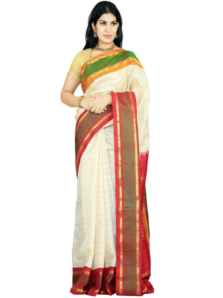 White Gadwal Silk Handloom Sari Ganga-Jamuna Border