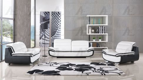 2-Pcs Ivory And Black Faux Leather #Sofa Set W/ Bold Stainless Steel Legs #modernhome #livingroom #sofaset #lafurniture