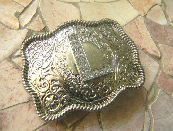 Monogram Letter L Personalized Silver Belt Buckle by StepOriginals