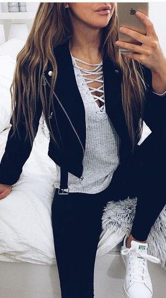 Blouse: grey, weheartit, hipster, knitwear, lace up, knitted sweater, lace up jumper, jacket, tie up, grey shirt, streetwear, leather jacket, zaful, trendy, lookbook, casual, style, tumblr, shirt, adidas, adidas shoes, leggings, black, criss cross, leather, everyday outfit, knitted top, top - Wheretoget