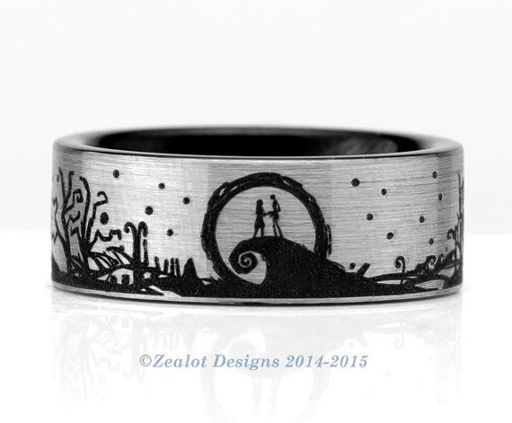Nightmare Before Christmas Landscape Wrap Around Tungsten Wedding Band Mens Womens Pipe Cut Silver Anniversary Engagement ALL Size Available