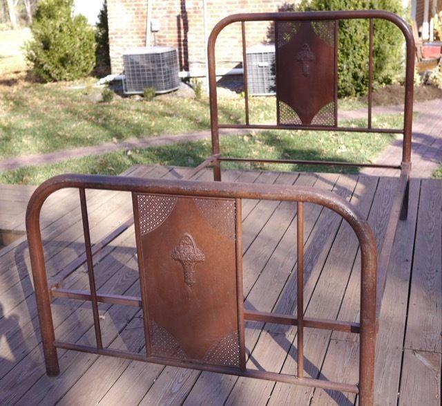 Vintage 1920s Antique Primitive Floral Iron Shabby Tubular Metal Twin Bed Frame #RomanticShabby