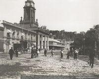 Plaza de La Victoria   hacia 1900     Fuente:Memoria Chilena