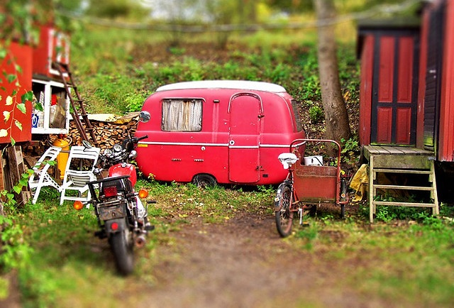 I photographed this little red trailer in Christiania, Copenhagen, Denmark.