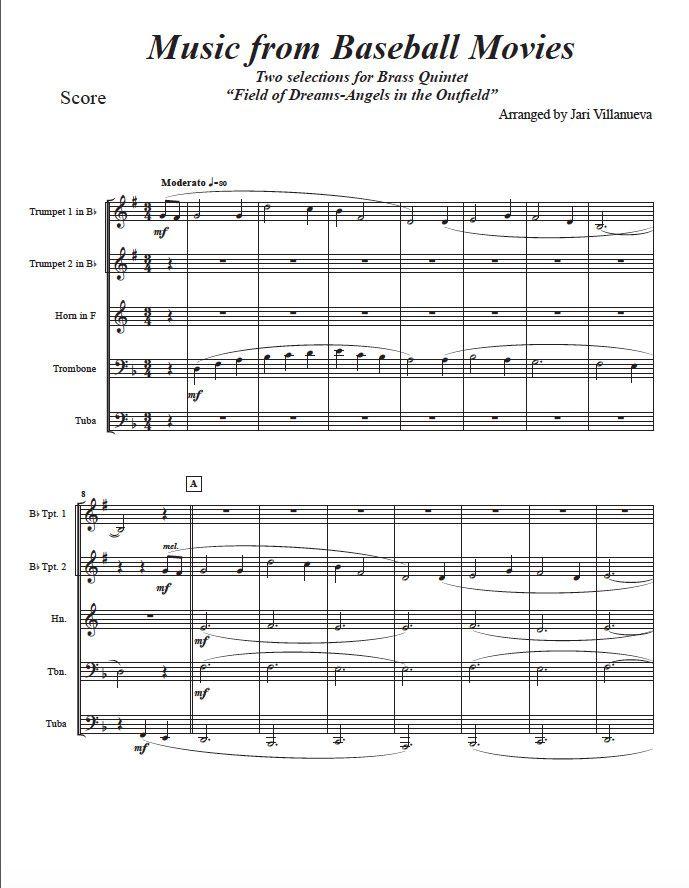 Baseball Movie Music for Brass Quintet   Brass Quintet