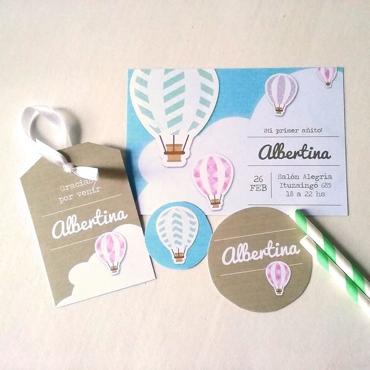 Invitación Globos Aerostáticos. Mirá todas las fotos de este kit imprimible en www.cumplekits.com