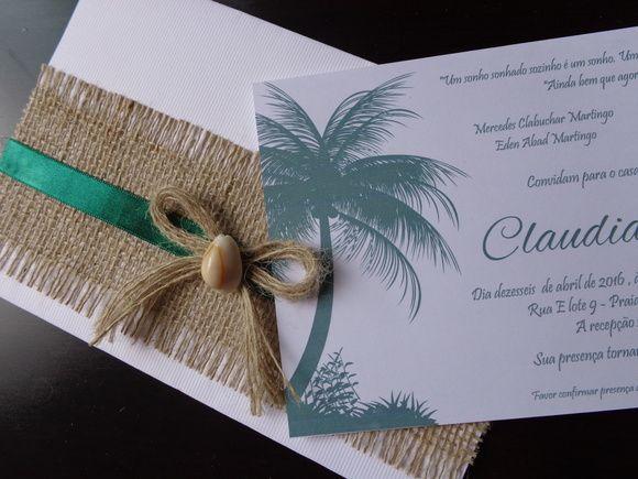 Convite de Casamento Praia Juta e Concha