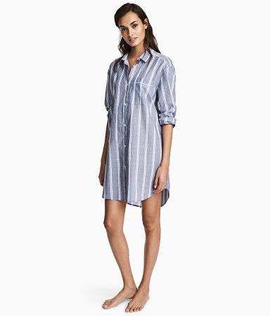 Blue/striped. Long-sleeved nightshirt in soft, woven cotton fabric with buttons at front, a chest pocket, and a rounded hem.