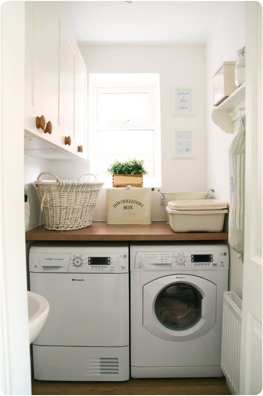 Option of putting washer under window with bench on top to rest washing basket.