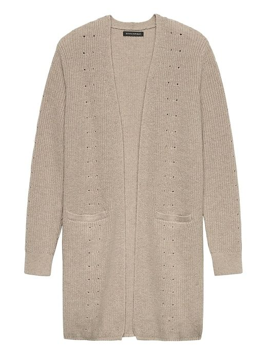 Feather Touch Ribbed Long Cardigan (heather taupe; xxs or xs)