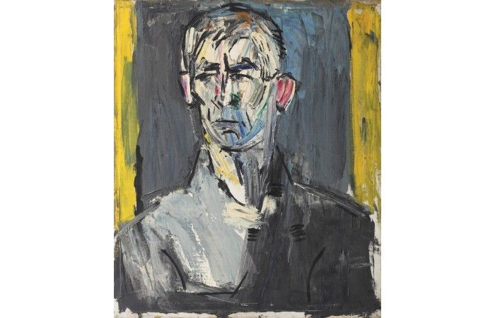 LOT 12 L CONSTANTIN PILIUŢĂ Selfportrait Oil on canvas 60.5 × 50.5 cm (23.8 × 19.9 inch) Estimate €1,000 - €1,500  #lavacow #contemporary #art #piliuta