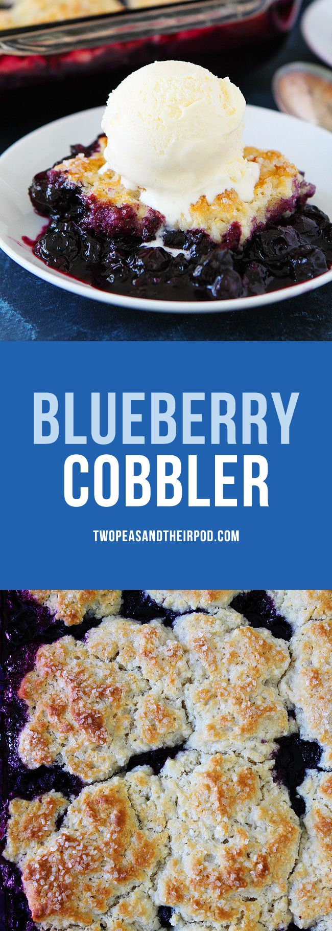 Blueberry Cobbler with an easy buttermilk biscuit topping makes the BEST summer dessert! Top with vanilla ice cream and you will be in dessert heaven! You can use fresh or frozen blueberries!
