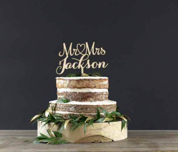 Gold Laser Cut Cake Topper - #ad -- Personalized Wedding Cake Topper - Cake Decor - Wo…