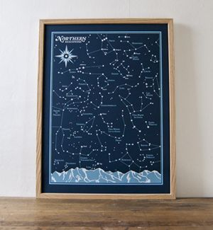 """$45 """"Northern Hemisphere Star Chart"""" Northern & Southern for $70"""