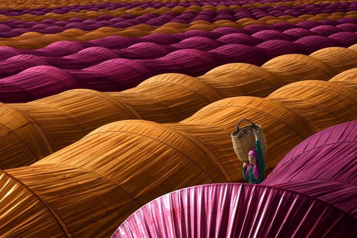 Colorful greenhouses near Nazilli, Turkey