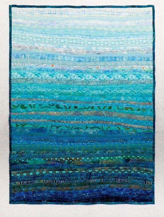 Fiber Art Quilt Ocean Currents Wall Hanging Decor by btaylorquilts