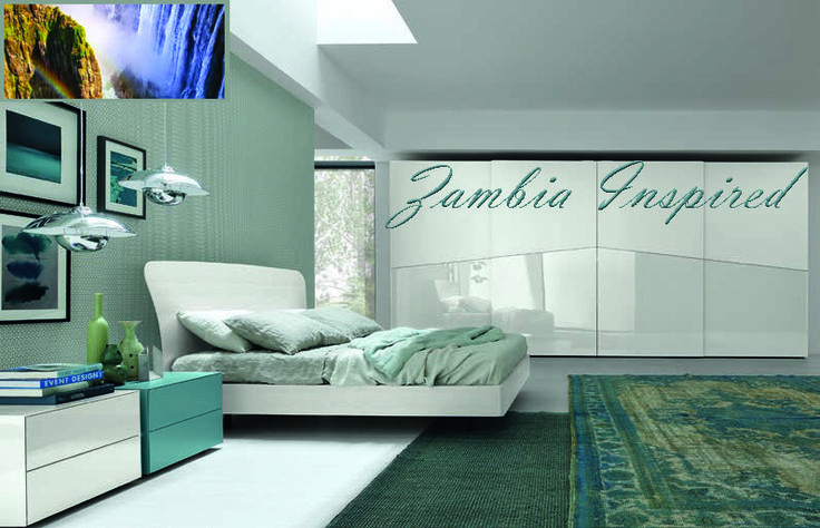 Zambia inspired. Just a walk across the bridge and you get a completely different view of Victoria Falls. A pallet of green, turquoise, white and blue. Bedroom ideas.