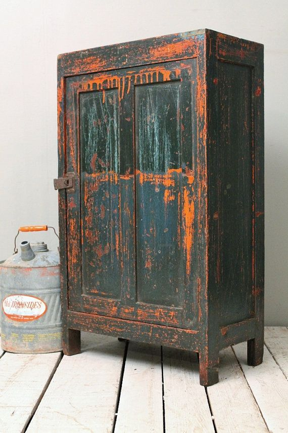 Antique Industrial Rustic Vibrant Orange Green Indian Storage Bar Kitchen Bathroom Cabinet w/ Metal Panels on Etsy, $299.00