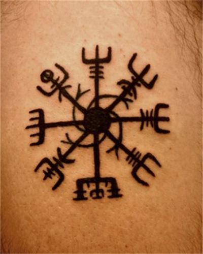 """Vegvisir compass tattoo. Vegvisir means """"direction sign"""" or """"see the way"""". This charm helps prevent one from getting lost. It is a """"brun rune"""" or sea charm."""