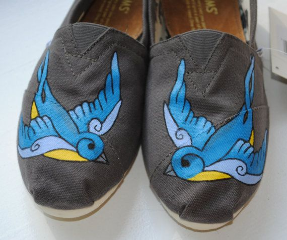 Custom Hand Painted TOMS Swallow Bird Design by PaperHeartsApparel, $100.00