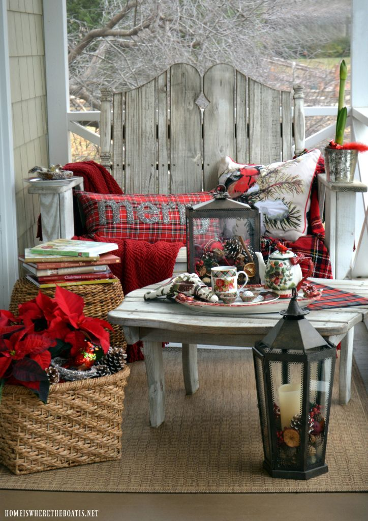 Christmas Nesting on the Porch with tartan and birds | homeiswheretheboatis.net