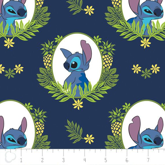 Disney Stitch Tropical Frame in Navy Premium 100% Cotton fabric  Width: 43~44  Note: Multiple yardages will come in one piece. The color in the picture might be slightly different from the actual color. If you are interested in buying at least 20 yards or one (1) roll of one fabric, we are glad to offer special bulk pricing.  Care Instructions: Machine Wash Cold Normal Cycle with Like Colors. Use only non-chlorine bleach when needed; Tumble Dry Medium, Use Warm Iron.  Keep in mind: ALL…