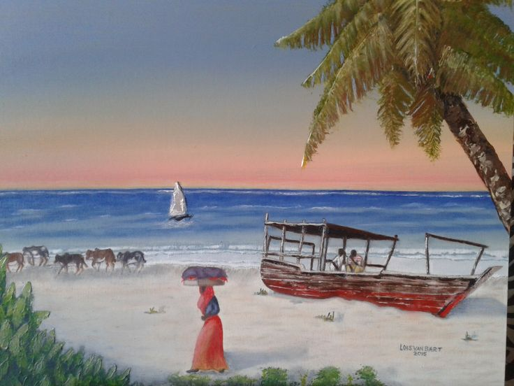 """Just Another Day"" - Zanzibar beach scene - oil on canvas"