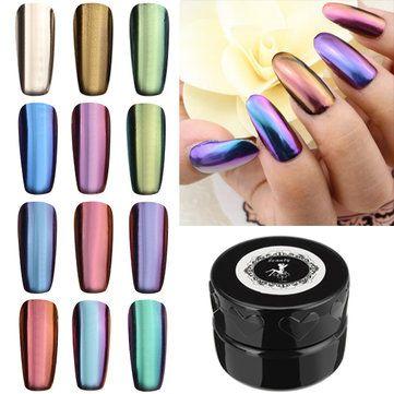 12 Colors Magic Mirror Chrome Effect Metallic Powder Set Nail Art Pigment