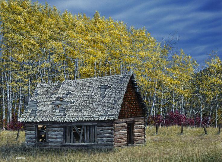 Birch Cabin, Acrylic Painting, N. Hamelin