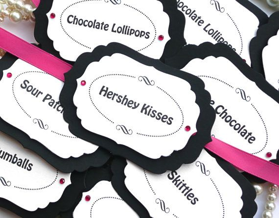 Luxury Candy Buffet Tags  Hot Pink and Black Candy by amaretto, $13.50