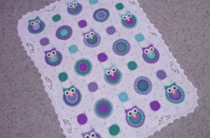 Purple/green crochet owl baby blanket.